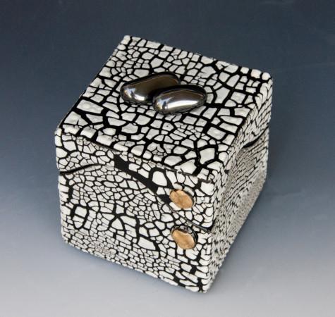 White Crackle Square Box