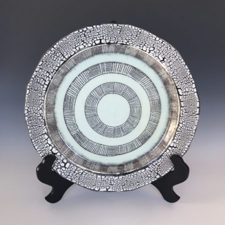 White Crackle Plate with Mishima Design