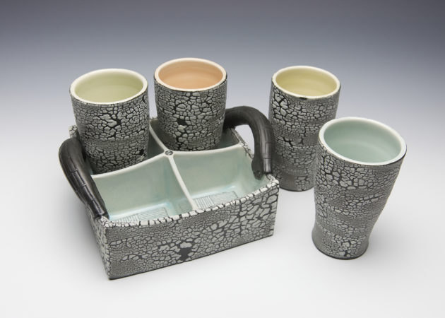 White Crackle Drinking Set